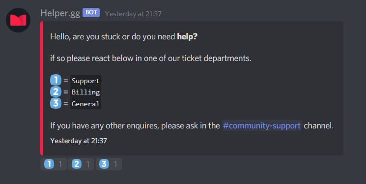 The Helper.gg TicketTag embed message