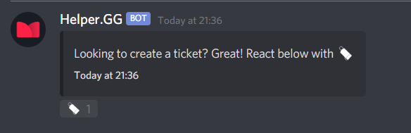 A Discord message from the Helper.gg bot reacted with an emoji