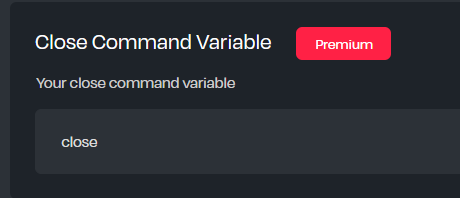 An input for changing a Premium only command variable on the Helper.gg panel